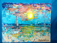 Original Acrylic Painting 8 x10 Canvas Panel Boats Sunset Abstract