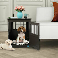 Dog Kennel Pet Crate End Table Wooden Pet Cage  Furniture Indoor Cat House
