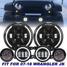 """7"""" LED Headlight + Turn Signal + Fog Light Combo Kit For Jeep Wrangler JK 07-18"""