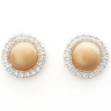 DIAMOND STUD EARRINGS IN 9K WHITE AND ROSE GOLD. 40 DIAMONDS. ALLURING DESIGN.