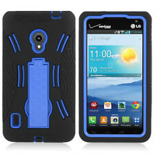 For Verizon LG Lucid 2 VS870 Impact Hard Rubber Case Cover Kick Stand Black Blue