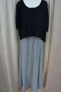 Ultra Flirt Juniors Dress Sz S Black White Striped Full Length Casual Maxi