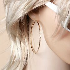 """9K 9ct Yellow """"GOLD FILLED"""" Ladies Girls Stylish Large Hoop Earrings, 65mm, Gift"""