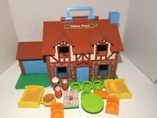 Fisher Price 1986 Play House Attached Garage With 3 Figures And Furniture