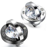 Men's Women's Couple Stainless Steel Interlocking Rings Pendant Necklace