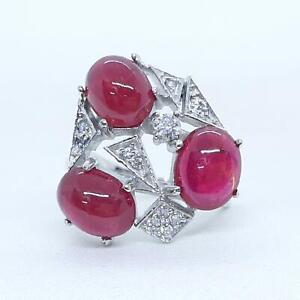 World Class 6.90ctw Mozambique Ruby & Diamond cut white Sapphire 925 Silver Ring