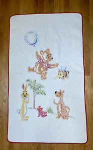 Vintage Winnie the Pooh & Friends Hand Embroidered Cross Stitch Quilt Rare EUC