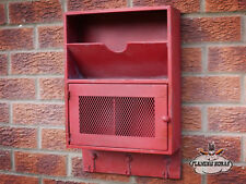 Industrial Locker Wall Shelf Coat Hooks Letter Rack Storage Display Unit -  Red