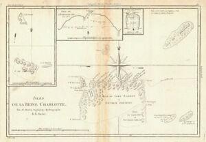 Isles de la Reine Charlotte. Nendo, Santa Cruz, Solomon Islands. BONNE 1788 map