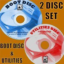 BOOT DISK REPAIR/RESCUE/TEST/FIX WINDOWS XP VISTA 7 8 10 PC/LAPTOPS 2 DISC SET