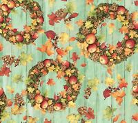 Harvest Fall Wreath Cotton Fabric Thanksgiving Autumn Country Fence Susan Winget