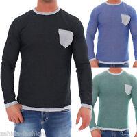 ZAHIDA Herren Pullover Pulli Rundhals Sweatshirt Hoodie Longshirt Langarm Shirt