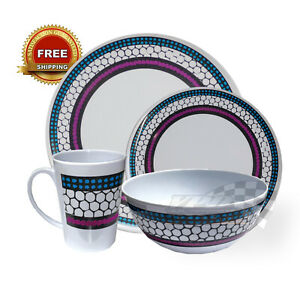 dinner set camping 16 Piece caravan abstract melamine boating high quality