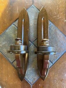 VINTAGE PAIR WOOD WALL SCONCE CANDLE HOLDERS CORNWALL SOUTH PARIS MAINE