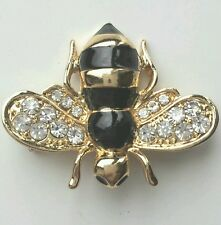 Little Bumble Bee Brooch Gold/black With Crystal on The Wings