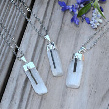 "Natural Selenite Tourmaline Point Pendant Necklace Silver 20"" Stainless Steel"