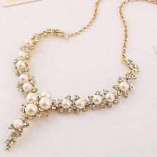 Fashion Pendant Chain Necklace Women V-shaped Crystal Pearl Necklace