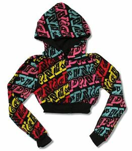 Pink P!NK All Over Print Cropped Girls Juniors Sweatshirt Hoodie New Official