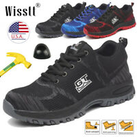 Men's Safety Shoes Steel Toe Work Boots Breathable Sport Outdoor Sneakers Size 8