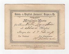 Ausweis Mitgliedskarte Stemm u. Ringclub Germania Bingen am Rhein 1907 original