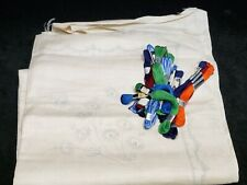 Vintage Tablecloth Stamped for Hand Embroidery Work Linen w Floss 1940s Project