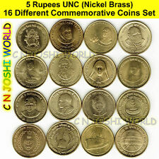 Very Rare 16 Different Nickel Brass Rs 5 Commemorative Five Rupees UNC Coins Set
