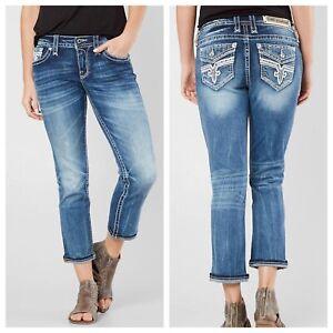 Rock Revival Women's Jeans NEW Embellished Pockets  Lam Easy Crop Size 25