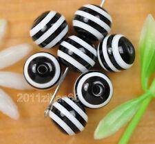 wholesale 100 Pcs black Striped Round bead acrylic Spacer Beads 8mm B380