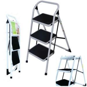 Non Slip 3 Level Step Stool Folding Ladder Safety Tread Kitchen Portable