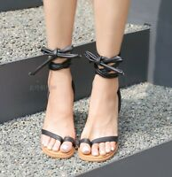 Women Clip Toe Thong Cross Strappy Slingback Sandals Party Block High Heel Shoes