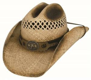 New SHUT UP AND RIDE Natural Raffia Straw Western Cowboy Hat Bullhide MonteCarlo