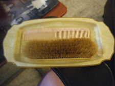 Vintage Art Deco Plastic Celluloid Vanity Tray & Hair or Clothing Brush & Comb