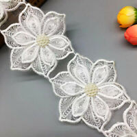 1yd Vintage Flower Pearl Lace Trim Ribbon Applique DIY Embroidered Sewing Craft