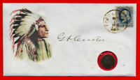 George Armstrong Custer Collector Envelope With 1876 Stamp & Coin *C107