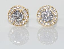 Sterling Silver & CZ Yellow Gold Round Halo Stud Earrings 8mm