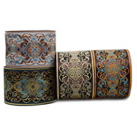 Embroidered Polyester Flower Jacquard Ribbon Silk Lace Woven Fringe Trim Sewing