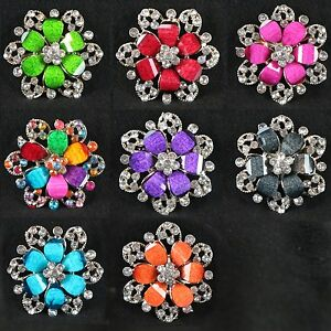 "Women's Elegant Rhinestone Flower Brooch Pin 1.75"" New"