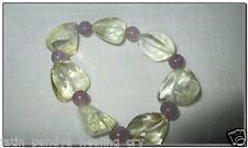 Jet Powerful Citrine Amethyst Tumbled Beads Stretch Bracelet A++ Esoteric