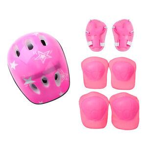 7 Set Protective Gear Outfit Kids Adjustable Helmet Knee Wrist Guard Elbow Pad