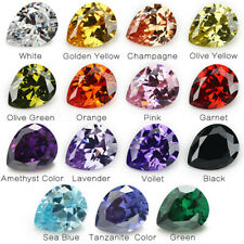 50pcs 2x3~13x18mm White cz stone AAAAA Pear loose Cubic Zirconia 4 Colors