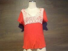Xhilaration Womens GAUSE CAP Sleeve Orange TOP WITH IVORY CROCETTE JUNIOR LARGE