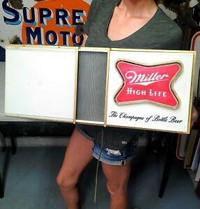 Vintage Miller High Life 1960's Lighted Clock Beer Sign Motion Lights 24x 10
