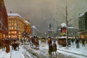 Oil painting paris place de clichy in winter cityscape street scene hand painted