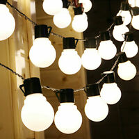 10m 38 LED String Ball Lights Outdoor Waterproof Warm Cool White Garden Decor