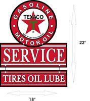 "TEXACO Gasoline Oil Tires Lube & Gas Station Aluminum Vintage 22"" x 18"" Sign"