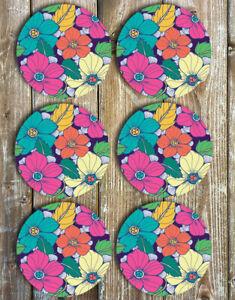 Drink Coasters Tropical Flowers Set of 6 Non Slip Neoprene