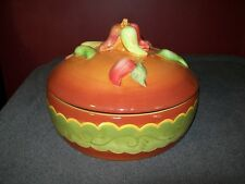 "LAURIE GATES ""SANTA FE"" TORTILLA / CHIP WARMER / CHILI PEPPER DESIGN"