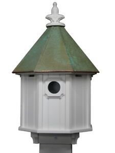 Blue Bird Song Bird House Patina Copper Roof Cellular PVC Body Made in the USA