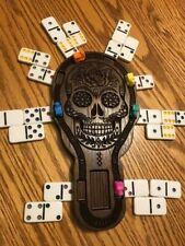 Unique Sugar Skull Mexican Train Hub with Tracks/Pockets - Walnut IG25