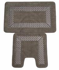 Trellis Border 2pc Non Slip Super Absorbent Pedestal and Bath Mat Set Silver